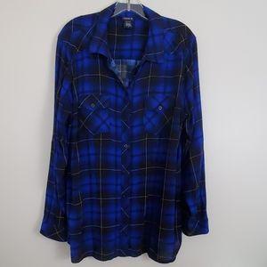 Torrid Blue & Black Plaid Shirt Size 2